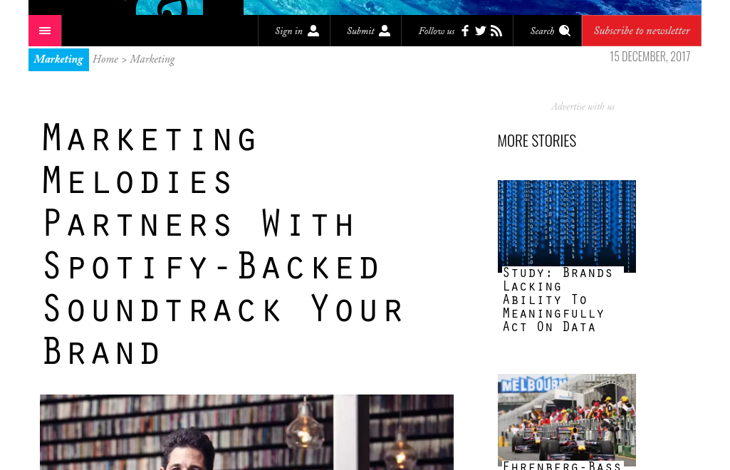 B & T December 2017: Marketing Melodies Partners With Spotify-Backed Soundtrack Your Brand