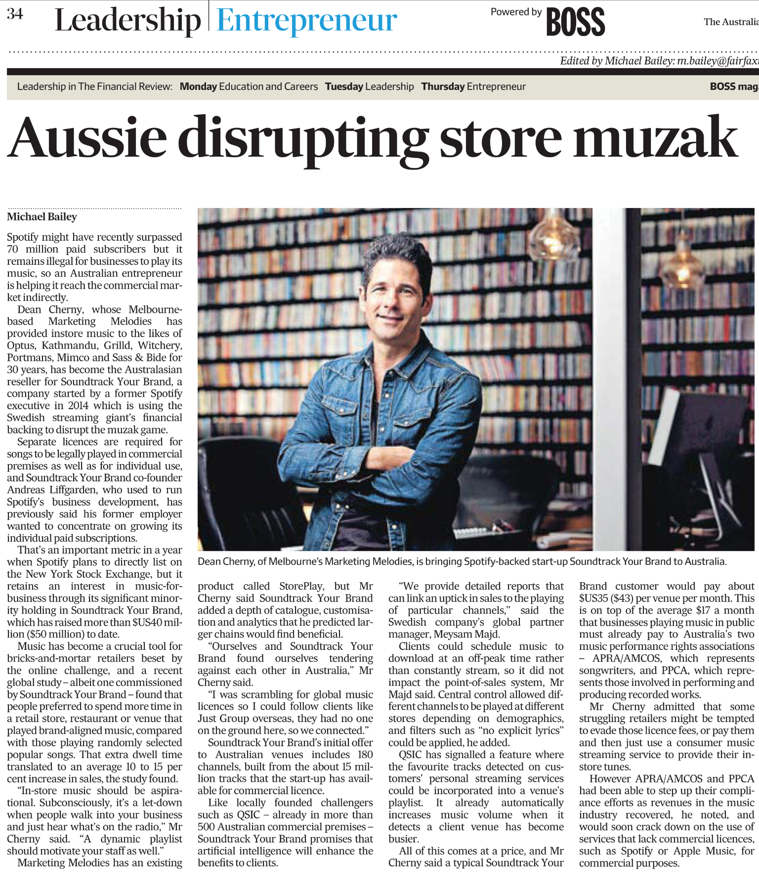 Financial Review December 2017: Melbourne's Marketing Melodies is helping Spotify investee to disrupt shopping muzak